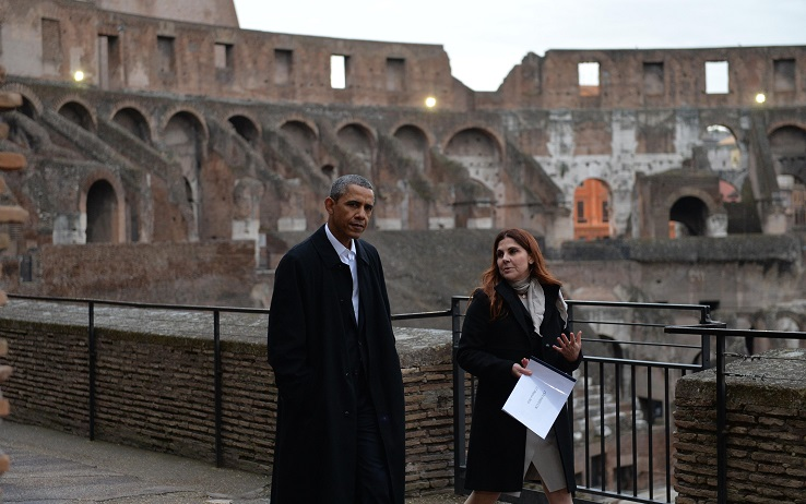 US President Barack Obama visits Colosseum in Rome